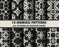 Vector set of geometric seamless patterns for design. Eps 10 royalty free illustration