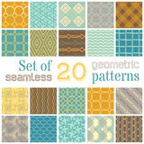 Vector set of 20 geometric seamless patterns. Stock Photography