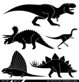 Vector set of geometrically stylized dinosaur icons. Royalty Free Stock Photography