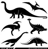 Vector set of geometrically stylized dinosaur icons. Royalty Free Stock Photos