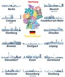 Vector set of Germany largest cities skylines icons in tints of blue color palette. Map and flag of Germany. Vector set of Germany largest cities skylines icons royalty free illustration