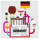 Vector set Germany sausage holiday element castle building tradition Stock Photos