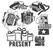 Vector set of gift boxes with bows and ribbons in vintage style. Design elements, emblems, badges, logo Stock Photos