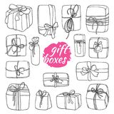 Set of gift boxes in cartoon style. Doodle vector. Vector set of gift boxes in cartoon style. Doodle box icon with hand drawn bows. Gift wrap. Gift package stock illustration
