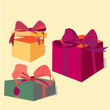Vector Set of Gift Boxes Royalty Free Stock Photo