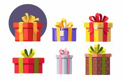 Vector set of gift boxes. Royalty Free Stock Photo