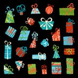 Vector set of gift boxes. Hand-drawn bright design elements isolated on black background Royalty Free Stock Photography