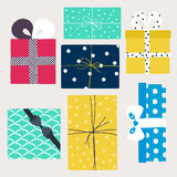 Vector set with gift boxes i Royalty Free Stock Photos