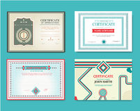 Vector set of gift certificates. Great for certificates, diplomas, and awards. Certificate, Diploma of completion Royalty Free Stock Images