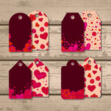 Vector set of gift tags for Valentine's Day. Royalty Free Stock Image