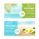 Vector set of gift vouchers with beach, sea, palm leaves, tropical flowers. Summer template with plumeria and blurred effect for travel certificate, coupon and Stock Images