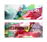 Vector set of gift vouchers. With colorful faceted background vector illustration