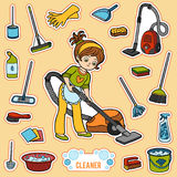 Vector set with girl and objects for cleaning. Colorful items Stock Photo