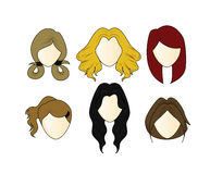 Vector Set girl's Hairstyle Royalty Free Stock Image