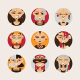 Vector set with girls characters, drawn with body modifications, piercing and tattoo in circle shapes. Women portraits in various. Hairstyle and styles of body Royalty Free Stock Photo