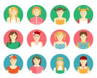 Vector set of girls and young women avatars Royalty Free Stock Photography