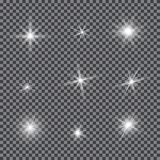 Vector set of glare lighting, twinkle lens flares. Transparent gradient stars, lightning flare. Magic, bright, natural effects. Abstract texture for your Stock Photos