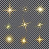 Vector set of glare lighting, twinkle lens flares. Transparent gradient stars, lightning flare. Magic, bright, natural effects. Abstract texture for your Stock Images