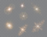 Vector set of glare lighting, twinkle lens flares. Transparent gradient stars, lightning flare. Magic, bright, natural effects. Abstract texture for your Stock Photo