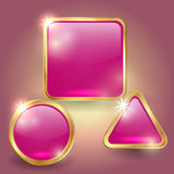 Vector set of glass button templates Royalty Free Stock Photo