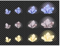 Vector set of glass crystals isolated on a transparent background. Crystals evolution from small to large Royalty Free Stock Photo