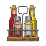 Vector Set glass Shakers for salt and pepper. Vector illustration Set glass Shakers for salt and pepper, metal holder bottles with cork olive oil and red wine Stock Photos