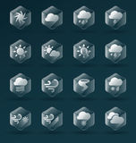 Vector Set: Glass Weather Icons and Symbols Royalty Free Stock Photo
