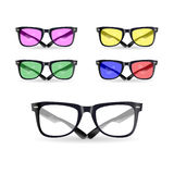 Vector set of glasses. With different colored lenses vector illustration