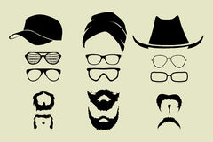 Vector set of glasses, mustache and hats Royalty Free Stock Photos