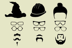 Vector set of glasses, mustache and hats Stock Image