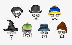 Vector set of glasses, mustache and hats Stock Images