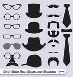 Vector Set: Glasses, Mustaches, Hats and Ties. Collection of mix and match glasses, hats, mustaches, and ties Royalty Free Stock Images