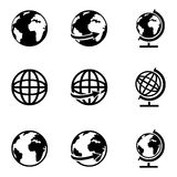 Vector Set of Globe Icons. Vector Set of 9 Basic Globe Icons Stock Photos