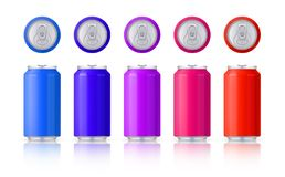 Vector set of glossy colored aluminum cans. Template on a white background with reflection. Vector. royalty free illustration