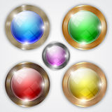 Vector set of glossy colorful round buttons with Royalty Free Stock Photo