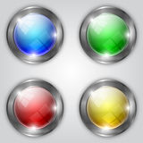Vector set of glossy colorful round buttons with Stock Photo