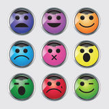Vector set of glossy Emoticons. Royalty Free Stock Photo