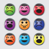 Vector set of glossy Emoticons. Vector set of glossy button Emoticons isolate on white royalty free illustration