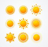 Vector Set of glossy sun icon set Stock Images