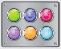 Vector set of glossy switch face emoticons. On stainless steel cover royalty free illustration
