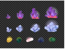 Vector set of gems, gemstone, crystals isolated on a transparent background. Crystals evolution from small to large Royalty Free Stock Image