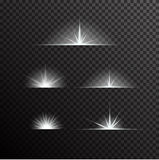 Vector set of glowing light bursts on black Stock Images