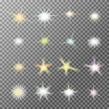 Vector set of glowing light bursts with sparkles Stock Photo