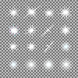 Vector set of glowing light bursts with sparkles on transparent background Stock Images