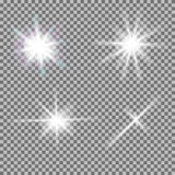 Vector set of glowing light bursts with sparkles stock illustration