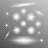 Vector set of glowing light bursts with sparkles Stock Images