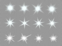 Vector set of glowing light bursts with sparkles Royalty Free Stock Photos
