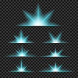 Vector set of glowing light bursts with sparkles Royalty Free Stock Photo