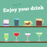 Vector set of goblets, cups, glass Stock Images