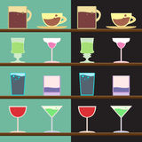 Vector set of goblets, cups, glass with drink on bar regiment Stock Photos